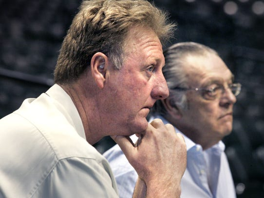 Indiana Pacers President Larry Bird (cq) (left) and