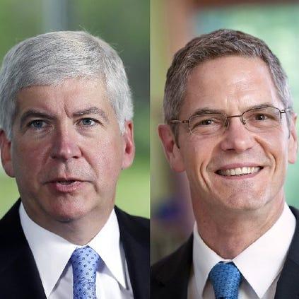 Gov. Rick Snyder (left) and challenger Mark Schauer