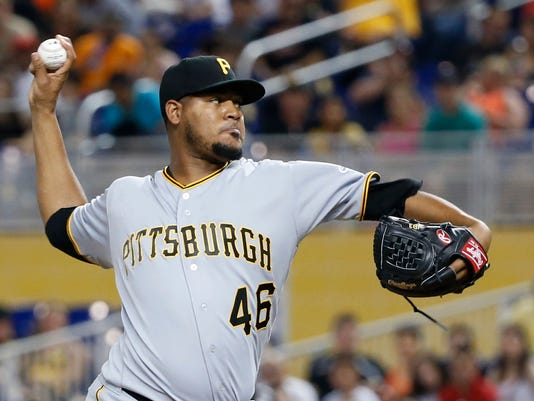 Pittsburgh Pirates' Ivan Nova delivers a pitch during the first inning of the team's baseball game against the Miami Marlins, Saturday, April 29, 2017, in Miami. (AP Photo/Wilfredo Lee)