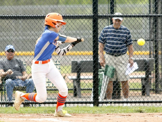 Jodie Burdick of Thomas A. Edison connects for a double