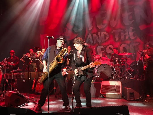 Eddie Manion and Stevie Van Zandt with the Disciples of Soul at La Cigale in Paris on June 28, 2017.