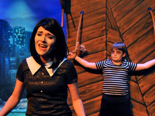 "Gabriella Marchion  of Suntree as Wednesday Addams and Aidan Holihan, 11, of Viera as Pugsley in ""The Addams Family: The Musical"" at the Henegar Center for the Arts in Melbourne."