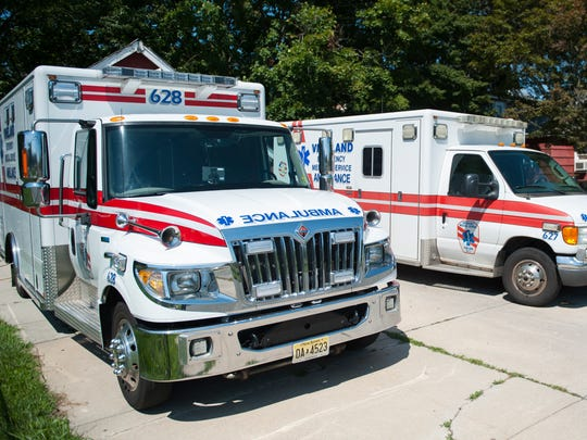 Ambulances are parked outside of the current Vineland