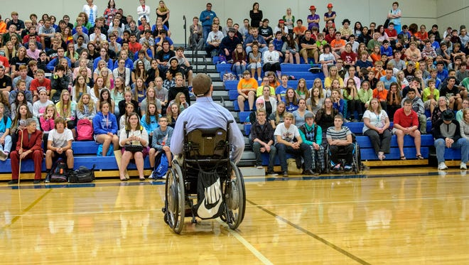 Chris Norton, former student who was paralyzed while playing football at Luther College.