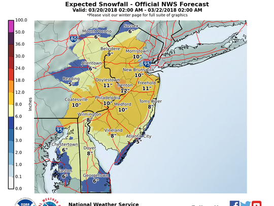 Sussex County could see up to 6 inches of snow on Wednesday.