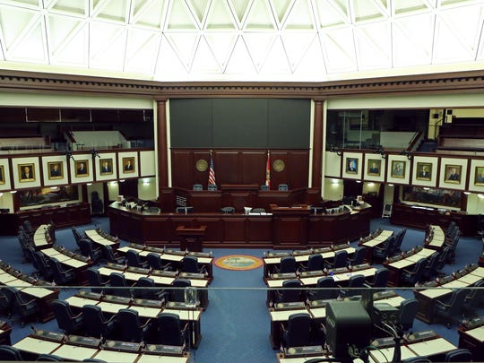 The Florida House chamber stands empty during session, Wednesday, April 29, 2015, in Tallahassee, Fla. (AP Photo/Steve Cannon)