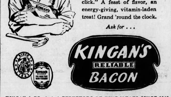 Kingan's Reliable Bacon ad
