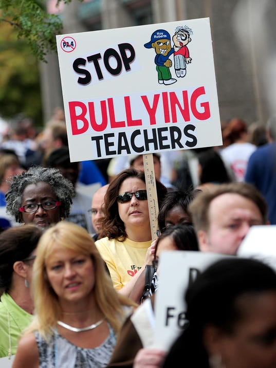 Teachers Unions Protest for Detroit Public Schools Teachers