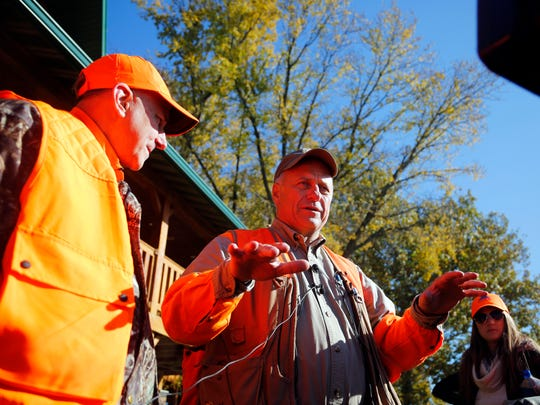 Rep. Louie Gohmert of Texas and Rep. Steve King of Iowa take questions from the media after hunting Pheasant at the Hole Ôn the wall lodge in Akron Iowa Saturday, Oct. 28, 2017.