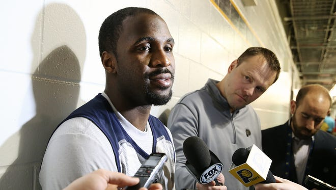 Ty Lawson, who recently signed to play for the Indianapolis Pacers, takes questions from the media, Monday, March 7, 2016, during a pre-game shoot around at Banker's Life Field House.