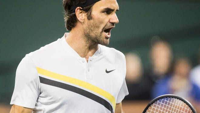Roger Federer of Switzerland plays against Hyeon Chung of South Korea on Stadium One during their quarterfinal match at the 2018 BNP Paribas Open at Indian Wells Tennis Garden on March 15, 2018. Federer won the match 7-5, 6-1.