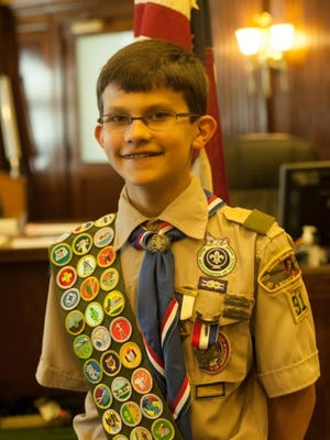 William David was awarded the Eagle Scout Award from the Boy Scouts of America at a ceremony on April 24, at age 12.