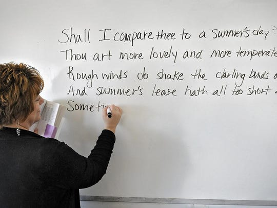Here a teacher copies one of Shakespeare's sonnets, but you can write your own.