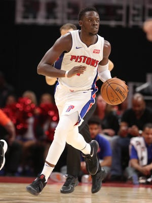 Pistons guard Reggie Jackson brings the ball upcourt during the fourth period of the 107-97 exhibition win over the Pacers on Monday, Oct. 9, 2017, at Little Caesars Arena.