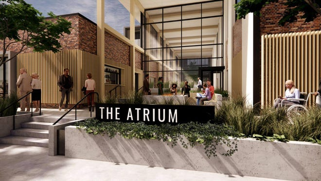 This provided rendering shows the exterior of The Atrium hotel, for which zoning was approved on June 22, 2020, by the Peoria Heights Village Zoning Board.