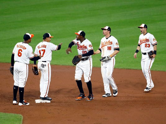 Baltimore Orioles' Jonathan Schoop, Ruben Tejada, Adam Jones, Trey Mancini and Joey Rickard, from left, celebrate after the team's baseball game against the Texas Rangers in Baltimore, Monday, July 17, 2017. Baltimore won 3-1. (AP Photo/Patrick Semansky)
