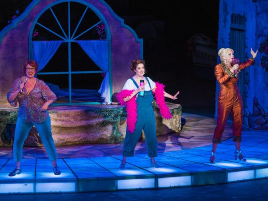 "Shari Jordan plays Rosie, Jennifer Swiderski plays Donna and Sasha Judkins plays Tanya in Tuacahn's 2017 production of ""Mamma Mia!"""