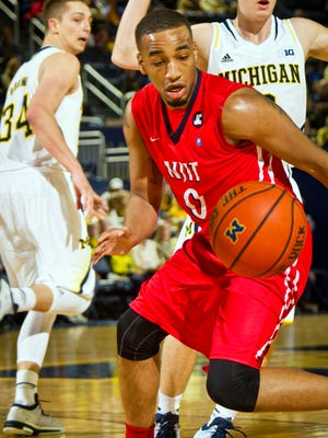 NJIT guard Ky Howard (0) plays against Michigan in Ann Arbor on Dec. 6, 2014.