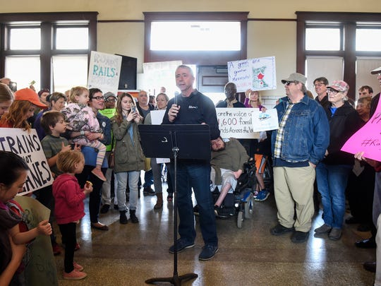 Mayor Dave Kleis speaks during a rally in support of expanding Northstar commuter rail service to St. Cloud Saturday, April 8, at the Amtrak station in St. Cloud.