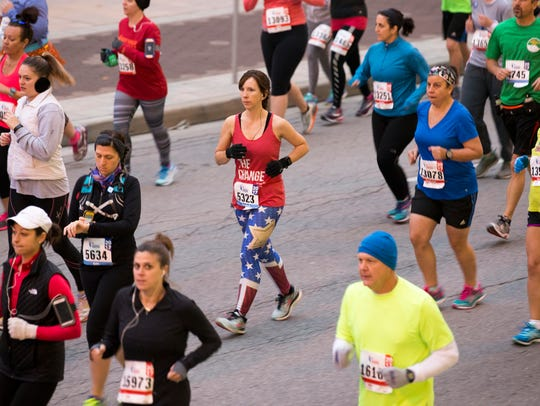 Near the start of the 10th running of Monumental Marathon,