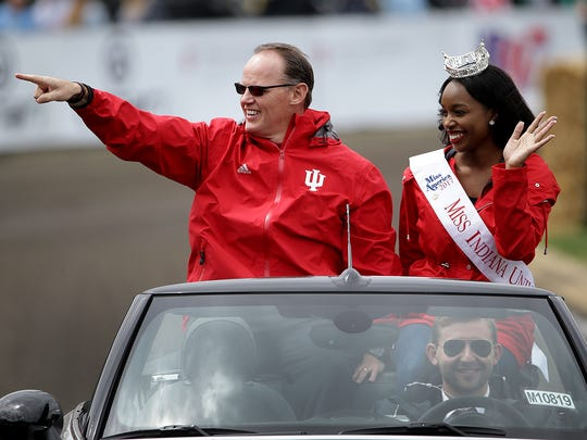 IU football coach Tom Allen and Miss Indiana University