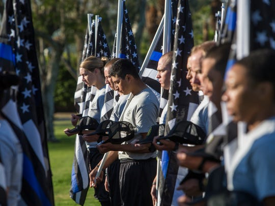 "San Bernardino Police Academy cadets participate in a five kilometer benefit run for the families of Officer Jose ""Gil"" Vega, Officer Lesley Zerebny who were shot dead in October of 2017 in Palm Springs, California. The run took place at Ruth Hardy Park in Palm Springs."