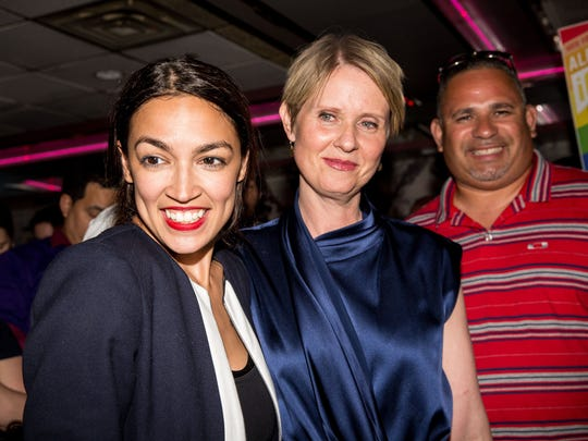 Progressive challenger Alexandria Ocasio-Cortez is joined by New York gubenatorial candidate Cynthia Nixon at her victory party in the Bronx after upsetting incumbent Democratic Representative Joseph Crowly on June 26, 2018 in New York City. Ocasio-Cortez upset Rep. Joseph Crowley in New Yorks 14th Congressional District, which includes parts of the Bronx and Queens.