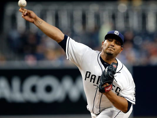 San Diego Padres starting pitcher Jhoulys Chacin throws to the plate against the Arizona Diamondbacks during the first inning of a baseball game in San Diego, Wednesday, April 19, 2017. (AP Photo/Alex Gallardo)