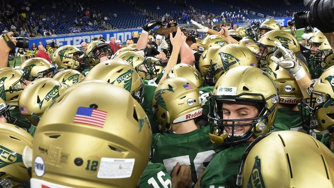 St. Mary Catholic Central may have to wait until June to defend its state football title if the Michigan High School Athletic Association follows Gov. Gretchen Whitmer's recommendation to switch the fall and spring sports seasons.
