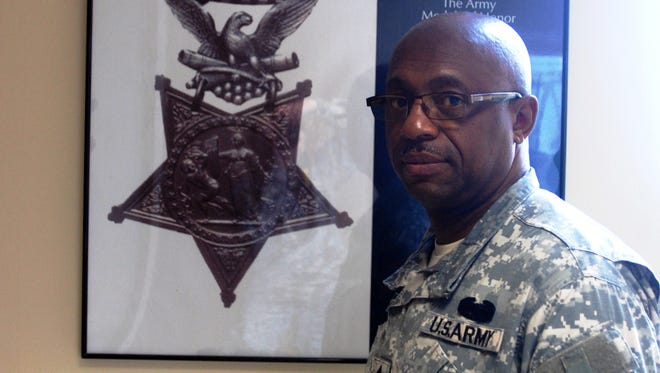 New York Army National Guard Command Sgt. Maj. Louis Wilson, pictured here on May 19, will represent Sgt. Henry Johnson, a World War I soldier slated to receive a posthumous Medal of Honor during a White House ceremony on June 2.