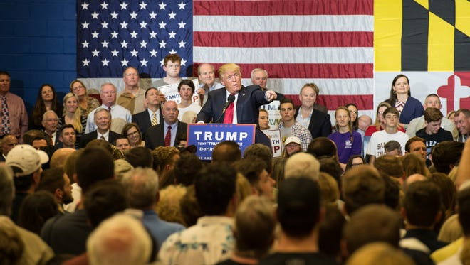 Donald Trump speaks to an audience at Stephen Decatur High School on Wednesday, April 20, 2016.