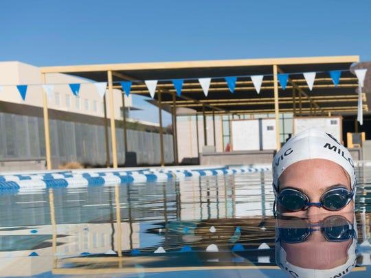 Chandler High School sophomore Mihajla Milovanovic swims at Phoenix Country Day School for swim workout with her club team, the Phoenix Swim Club.