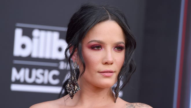 Halsey arrives at the Billboard Music Awards on May 20, 2018, in Las Vegas.