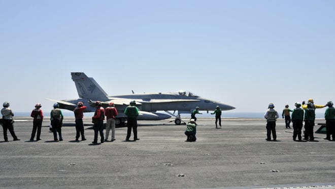 The new budget released Feb. 12 includes more money for F-18 aircraft, such as the one shown here.