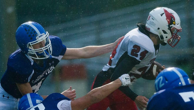 Assumption defeated Thorp 56-0 in a nonconference football game at South Wood County Recreation Center in Wisconsin Rapids on Aug. 28.