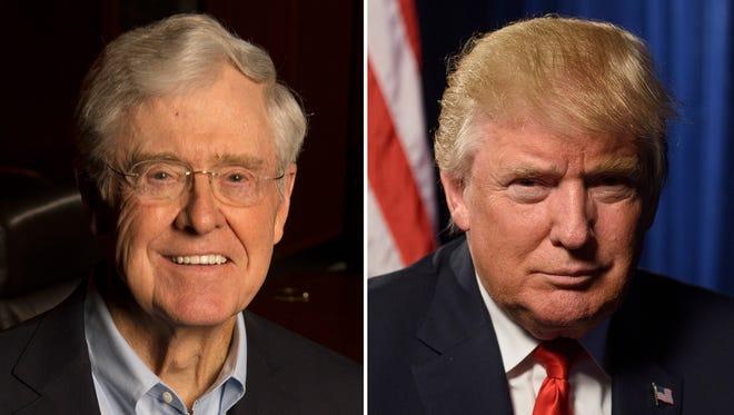 Charles Koch and Donald Trump.