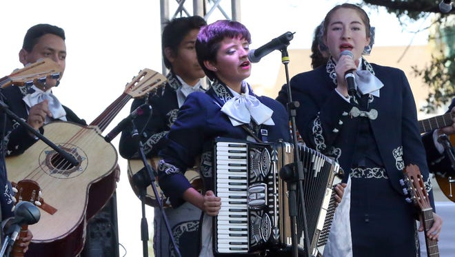 Los Osos Orgullosos mariachi group from Bowie High School perform for the crowd Friday at the Mariachi Loco Music Festival at San Jacinto Plaza.