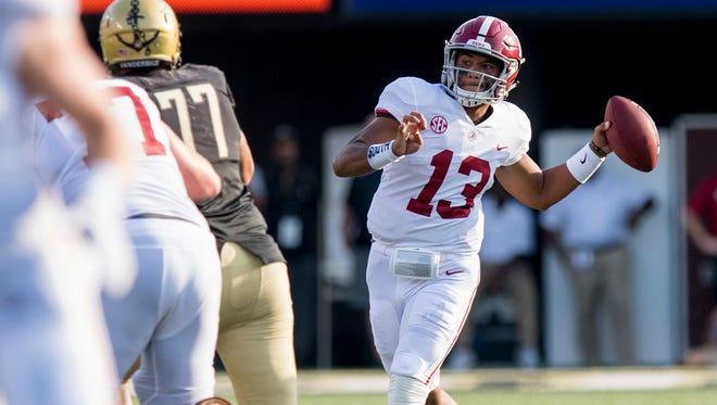 Alabama quarterback Tua Tagovailoa (13) throws against Vanderbilt at Vanderbilt Stadium in Nashville, Tenn. on Saturday September 23, 2017.