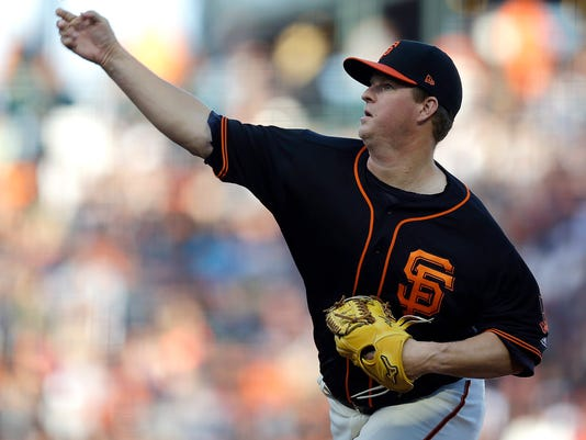 San Francisco Giants pitcher Matt Cain works against the San Diego Padres in the first inning of a baseball game Saturday, April 29, 2017, in San Francisco. (AP Photo/Ben Margot)