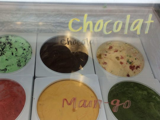 Ice cream flavors at The Parlor Ice Cream Puffs in California.