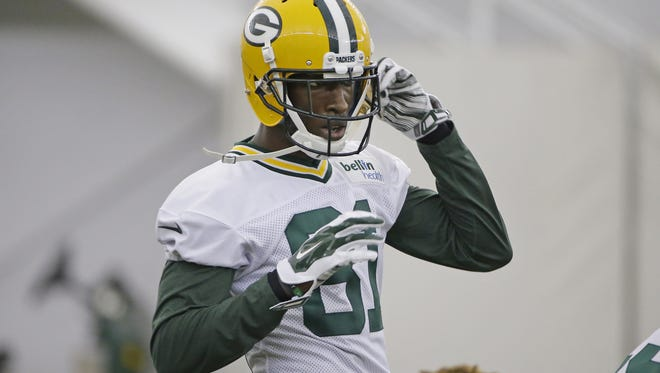 Green Bay Packers rookie wide receiver Geronimo Allison looks on during a rookie camp practice May 6.