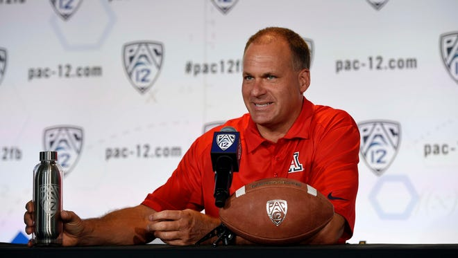 Arizona head coach Rich Rodriguez talks to the media during the Pac-12 Media Day at the Studios at Paramount.
