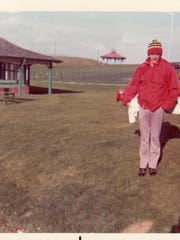 Jerry Pate, then a college player for the Alabama Crimson Tide, playing the Old Course at St. Andrews back in the early 1970's.