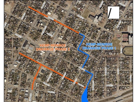 This map shows the first phase of the Kemp Monroe drainage