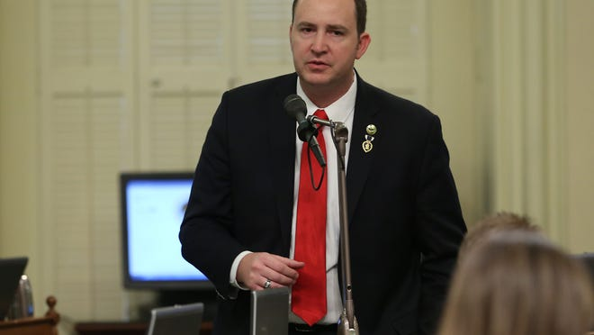 Assemblyman Devon Mathis, R-Visalia, spoke in support of a plan to pump $1 billion of water spending into drought-stricken California at the Capitol in Sacramento on Thursday