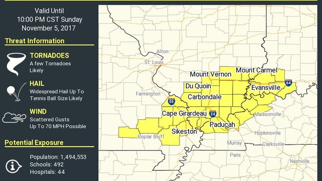 The National Weather Service issued a tornado watch for parts of the Tri-State as well as Missouri on Sunday, Nov. 5, 2017. The watch is in effect until 10 p.m.