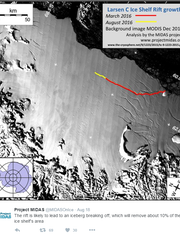This image, Tweeted this month by Antarctic research group Project MIDAS, shows a crack in Larsen C, a piece of Antarctica. The iceberg that is expected to break off has been described as the size of Delaware