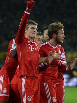 Bayern Munich players celebrate during the 3-0 win over Borussia Dortmund.
