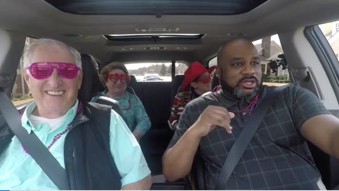 Members of The Cascades Senior Living Community filmed their own Valentine's Day version of carpool karaoke