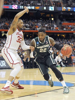 MSU's Branden Dawson, here against Oklahoma in the NCAA tournament, was selected by the New Orleans Pelicans No. 56 overall in Thursday's NBA draft, before being traded to the Los Angeles Clippers.